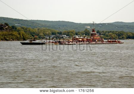 Tug Boat And Barge On Hudson