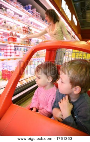Children Mother  In Supermarket