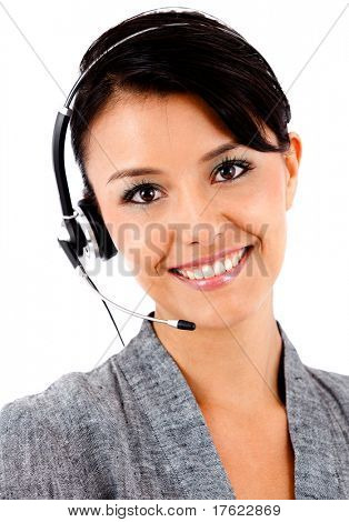 Business woman with headset - isolated over a white background