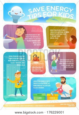 Save Energy Tips For Kids Web Infographic About How To