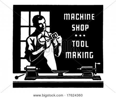 Machine Shop - Retro Ad Art Banner