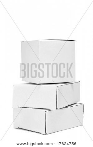 a pile of white cardboard boxes on a white background