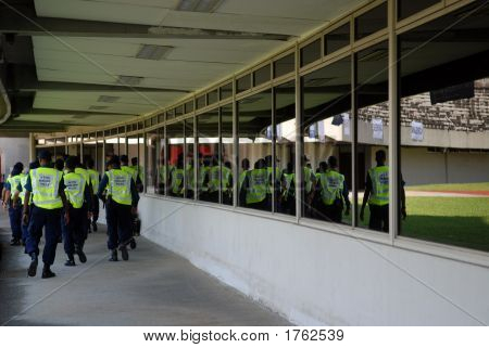 Group Of Security Officers In The Stadium