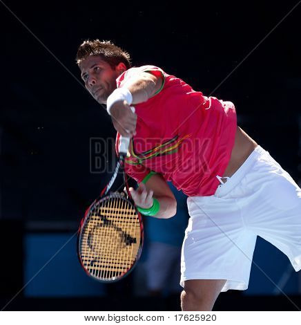 MELBOURNE - JANUARY 19: Fernando Verdasco of Spain in his second round win over Janko Tipsarevic of Serbia in the 2011 Australian Open on January 19, 2011 in Melbourne