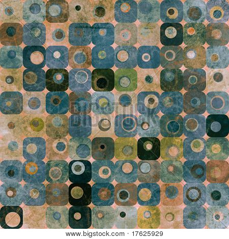 An abstract grungy image of squares and circles in blue and green tones