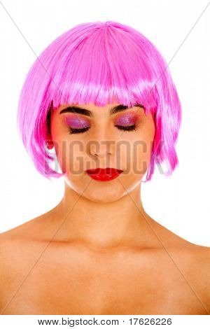 Beautiful woman portrait wearing a pink wig with eyes closed- isolated