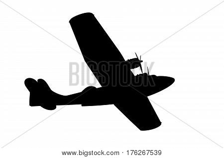 silhouette of a vintage propeller flying boat on white