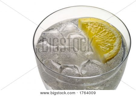 Glass Of Water (Or Liquor) With Ice And  Lemon Slice Closeup (3)