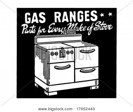 Gas Ranges - Retro Ad Art Banner