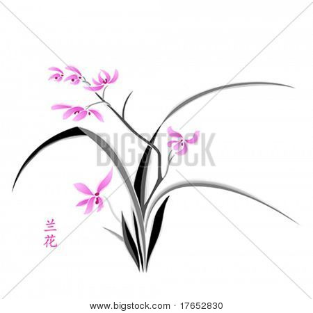 Orchid painting in japanese watercolor style
