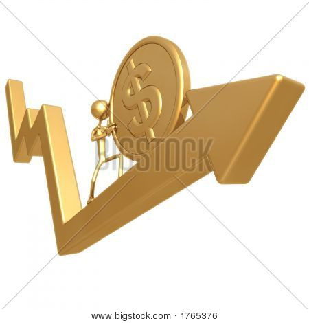 Pushing Golden Dollar Coin Up Market Arrow
