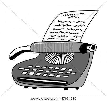 vector drawing of the printed type-writer on white background