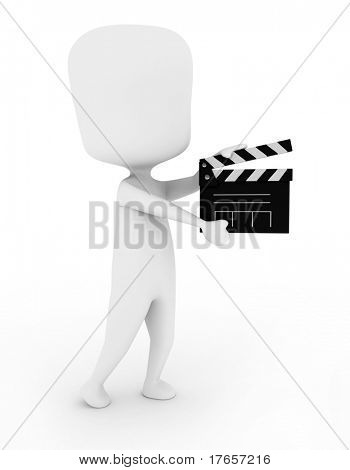 3D Illustration of a Man Holding a Clapper
