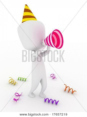 3D Illustration of a Party Man using makeshift Megaphone