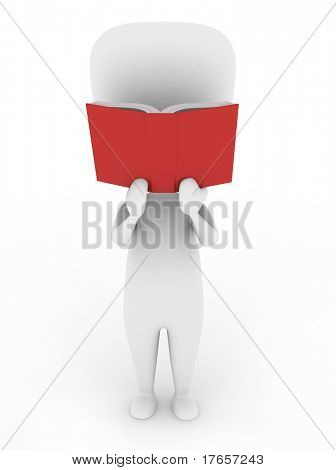 3D Illustration of a Man Engrossed in a Book