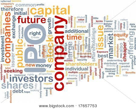 Background concept wordcloud illustration of company IPO