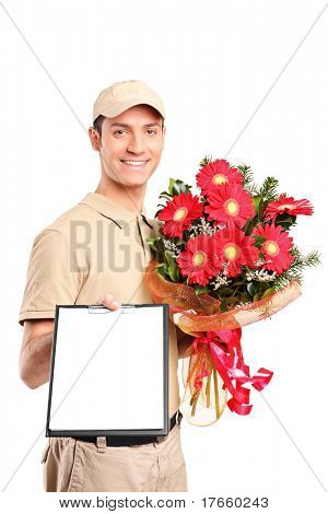A delivery boy delivering bouquet of flowers and holding a clipboard isolated on white background