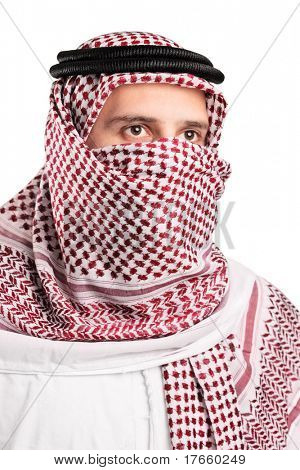 Portrait of a young Arab wearing a turban isolated on white background