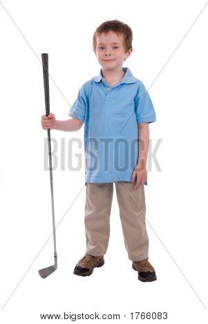 Boy Holding A Golf Club