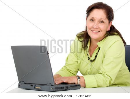Senior Business Woman Laptop