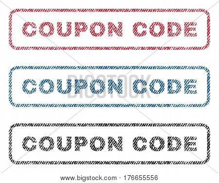 coupon code text textile seal stamp watermarks blue red black fabric vectorized texture. Black Bedroom Furniture Sets. Home Design Ideas