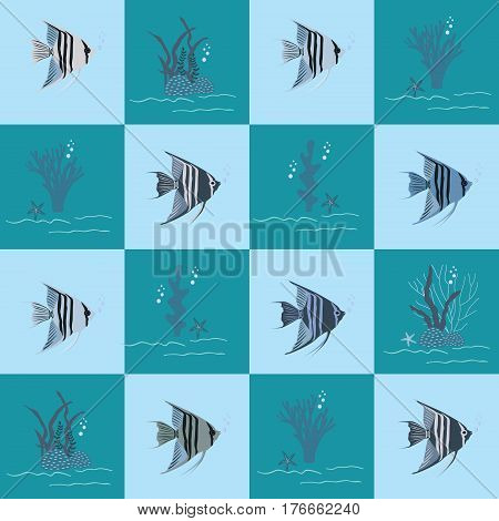 Flat illustration of a cute angelfish pattern and sea life.