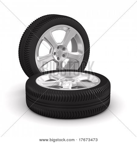 Two disk wheel on white background. Isolated 3D image