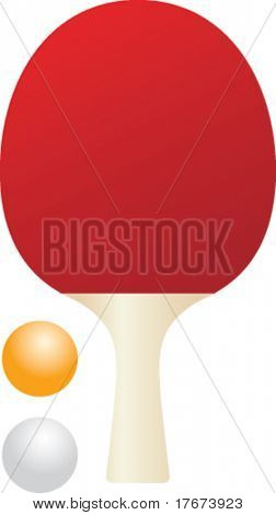 isolated ping pong paddle and balls