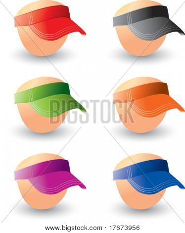 multiple colored visors on heads
