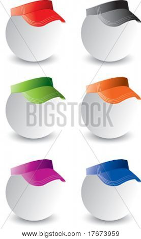 multiple colored visors on ping pong balls