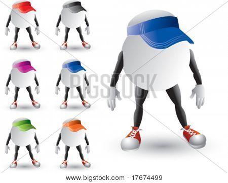 cartoon ping pong balls with hats