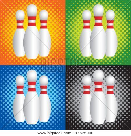 halftone bowling pins