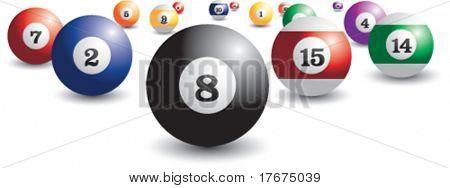 bolas de billar dispersos