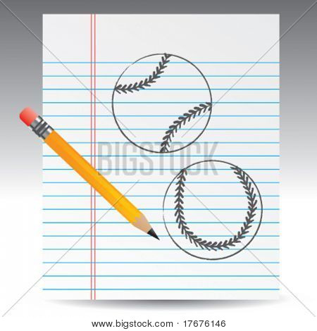 notebook paper and baseballs