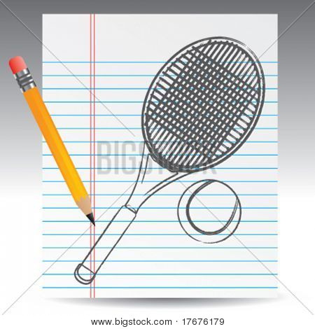 notebook paper and tennis
