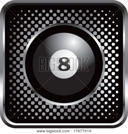 halftone silver button eight ball