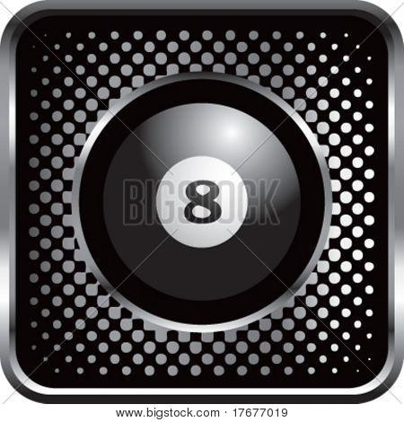semitono plata botón eight ball
