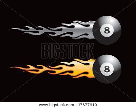 plata y oro llameantes ocho bolas