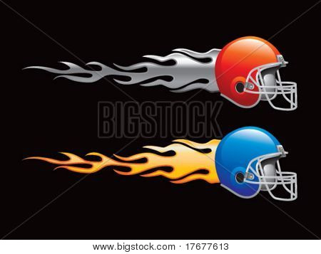 silver and gold flaming football helmets
