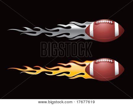 silver and gold flaming footballs