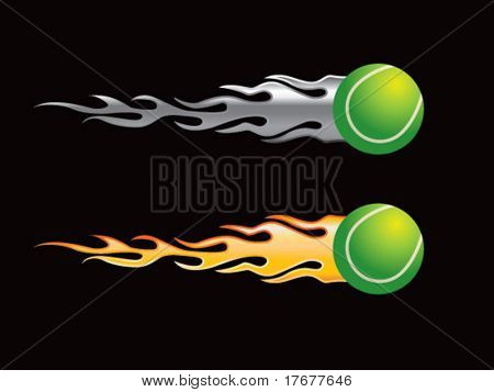 silver and gold flaming tennis balls