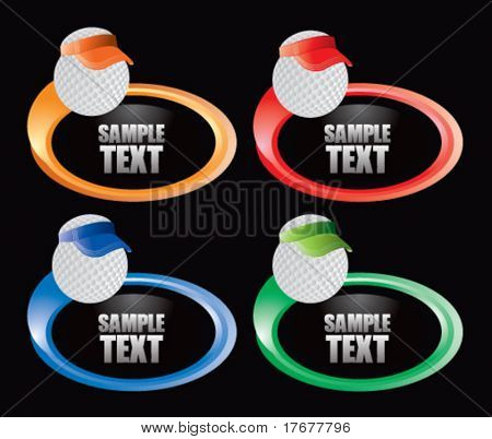 golf ball with visor on multicolor swoosh icons