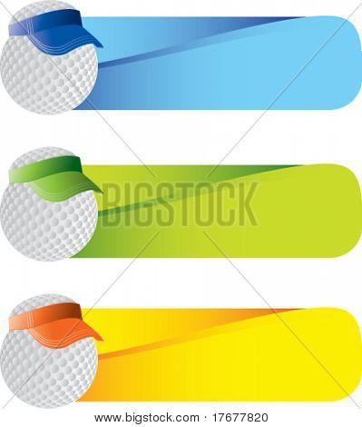 golf ball with visor on wavy banners