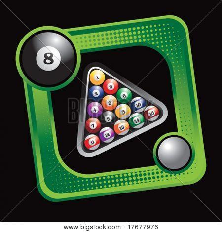 green sports box featuring billiard balls