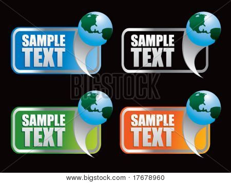 multiple colored curl banners featuring earth