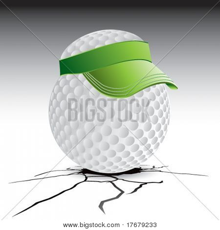 cracked floor with golf ball with visor
