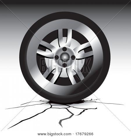 rissige Boden mit Reifen