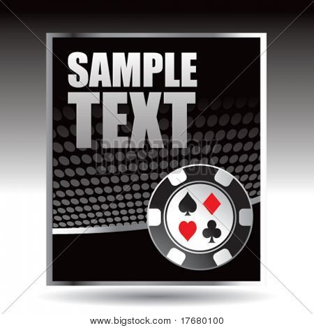 poker chip on halftone vertical banner