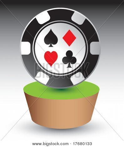 poker chip on grass patch