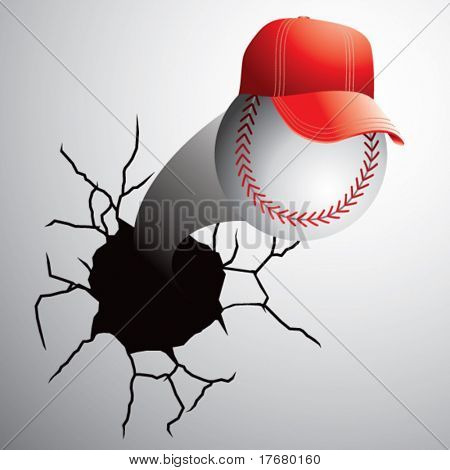 baseball with cap coming out of cracked wall